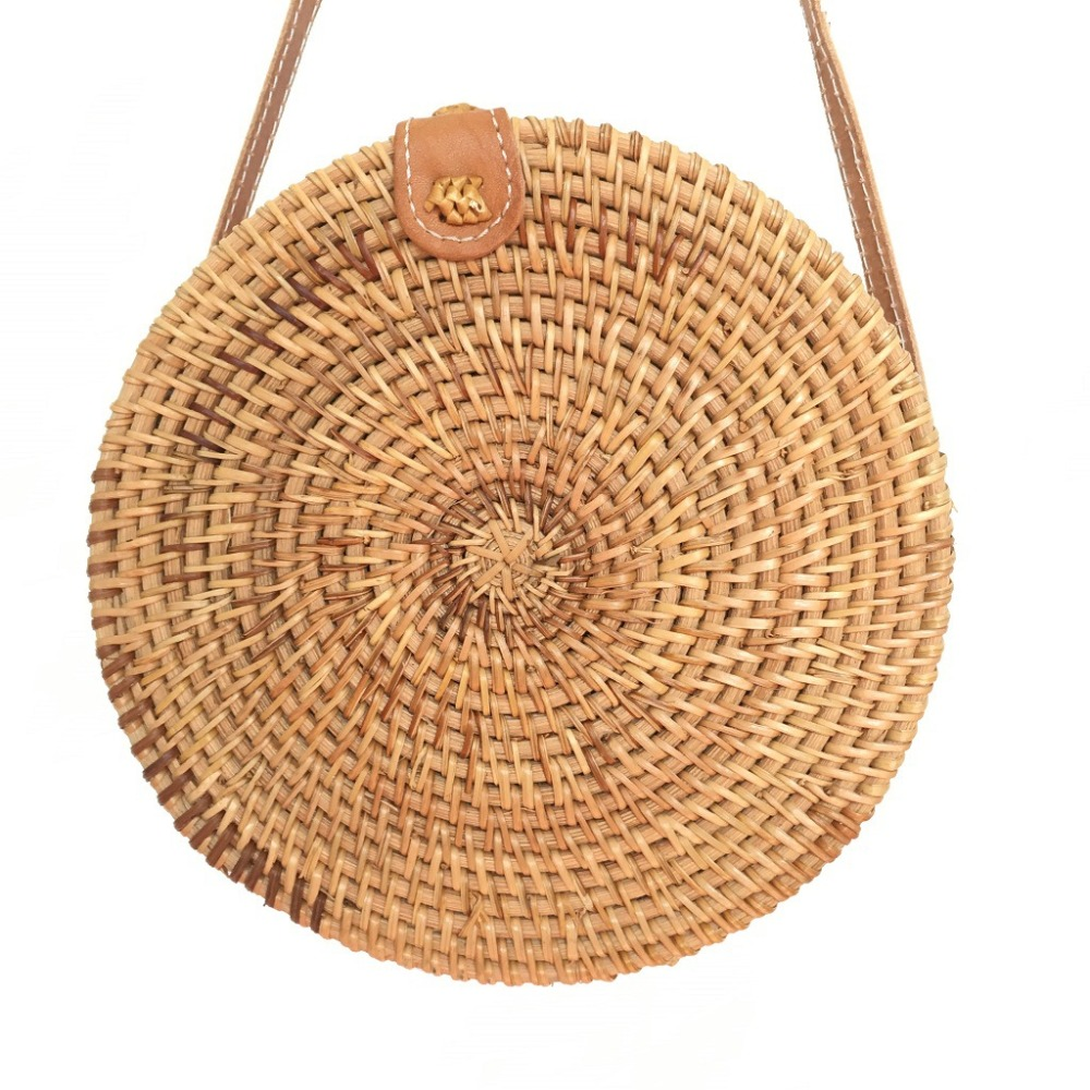 Hand-made rattan bag leather adjustable shoulder strap round Ins summer beach Messenger