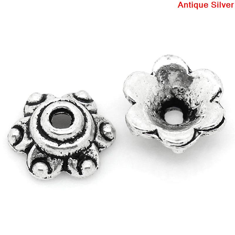 DoreenBeads Zinc Metal Alloy Beads Caps Flower Silver Color (Fits 14mm Beads) 6mm( 2/8