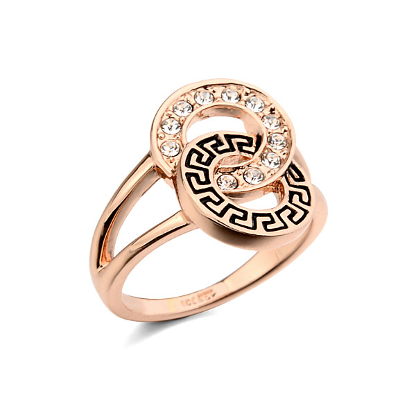 Unique Vintage Ring Rose Gold Color Givenc G Cross Circle Ring Micro Mosaic CZ Crystals Delicate Finger Knuckle Rings for Women