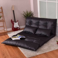 Giantex Foldable PU Leather Leisure Floor Sofa Bed with 2 Pillows Modern Living Room Portable Lounge Folding Sofa Bed HW56459