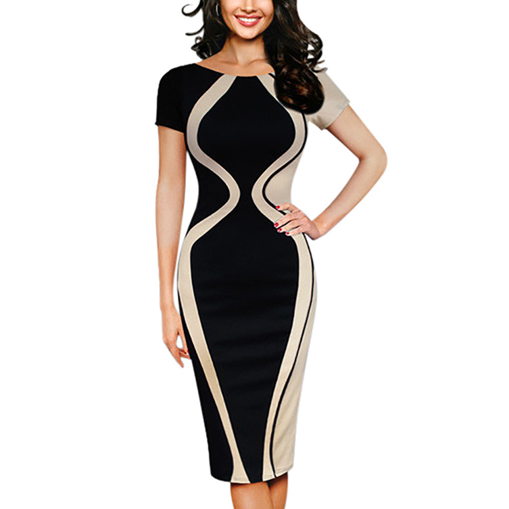 4 Color Plu Size S-5XL New Fashion Womens Sexy Bodycon Short Sleeve Party Casual Vintage  Pencil Female Spring Summer Dress  A20 short dresses office wear