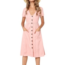 Sexy Deep V-neck Summer Boho Style Dresses Women Vestidos Female Pockets Short Sleeve Button Beach Shirt Dress Pink Blue Green army green side pockets v neck short sleeves camouflage dress