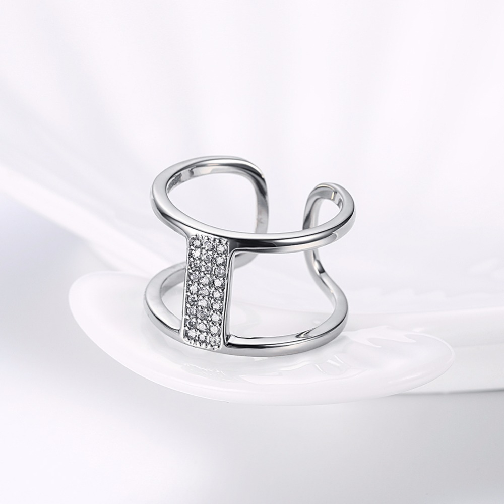 New free shipping fashion double line size adjustable open ring elegant temperament beautiful girl and friends dating