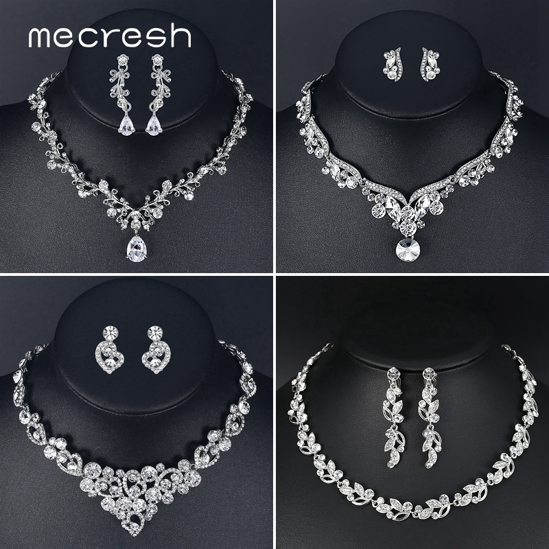 Mecresh Silver Color Flower Bridal Necklace Earrings Set Heart Crystal Wedding Engagement Jewelry Sets TL310