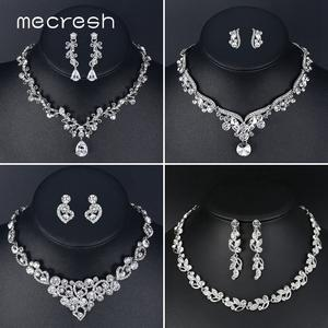 Mecresh Earrings-Set Bridal Necklace Crystal Wedding-Engagement Silver-Color Heart Women