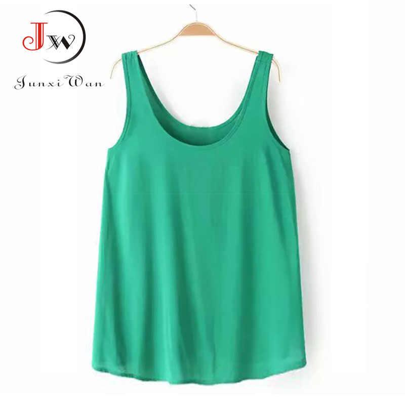 Mouwloze T-shirt Vrouwen Terug Boog Ankers Print Sexy Chiffon blusas Shirts Tops Tees Plus size tshirt Cropped Camisas Femininas