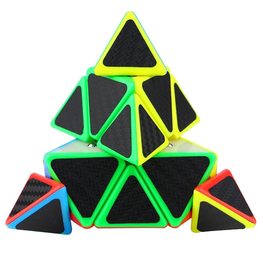 Pyramid Speed Cube Triangle Carbon Fiber Sticker Twisty Puzzle for Kids Z831