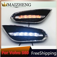 led daylight for VOLVO S60 2011 2012 2013 with siganls Waterproof 12v LED CAR DRL Daytime Running Lights fog lamp