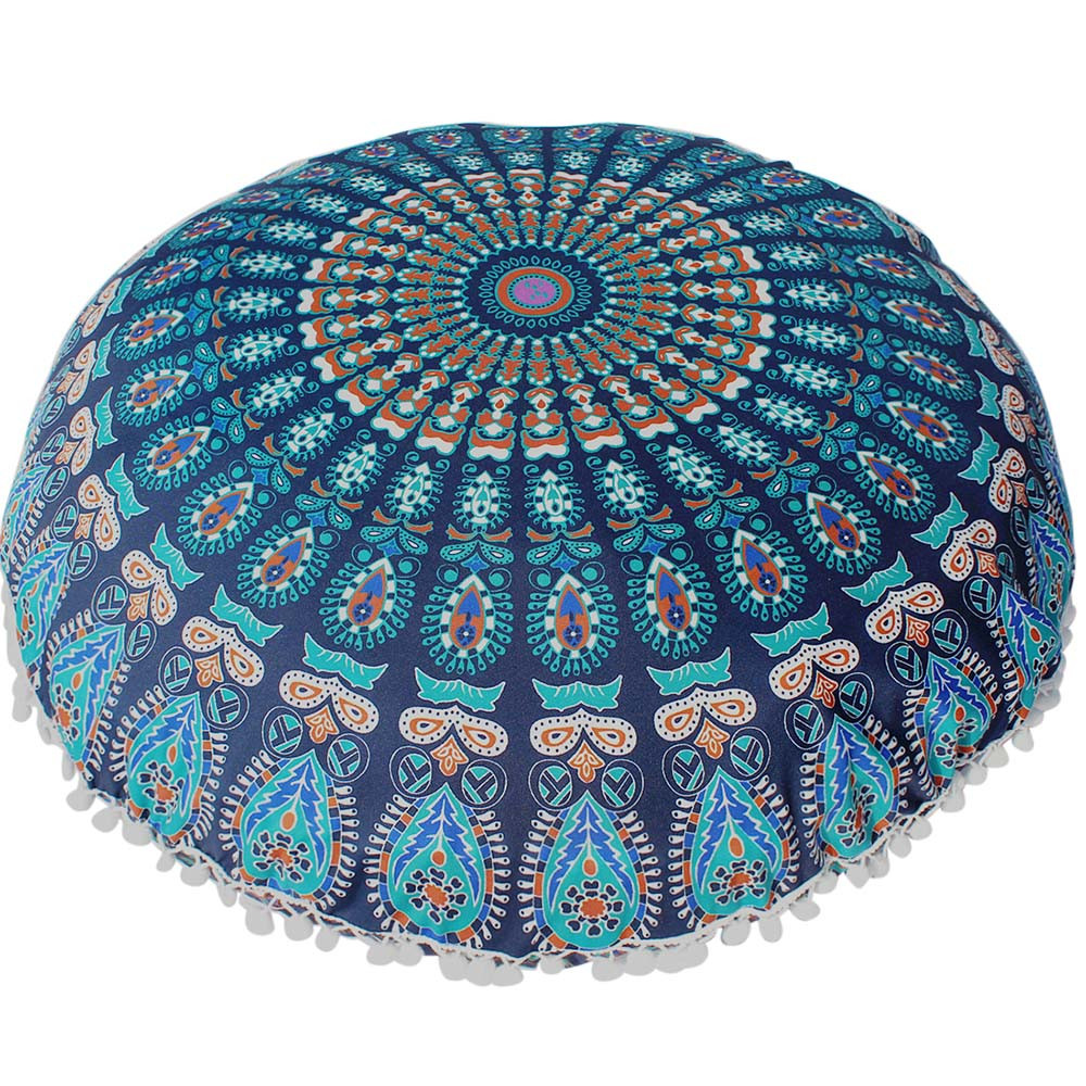Round Cushion Cover 80*80cm Large Floor Pillows Case Round Bohemian Meditation Pillowcase ...