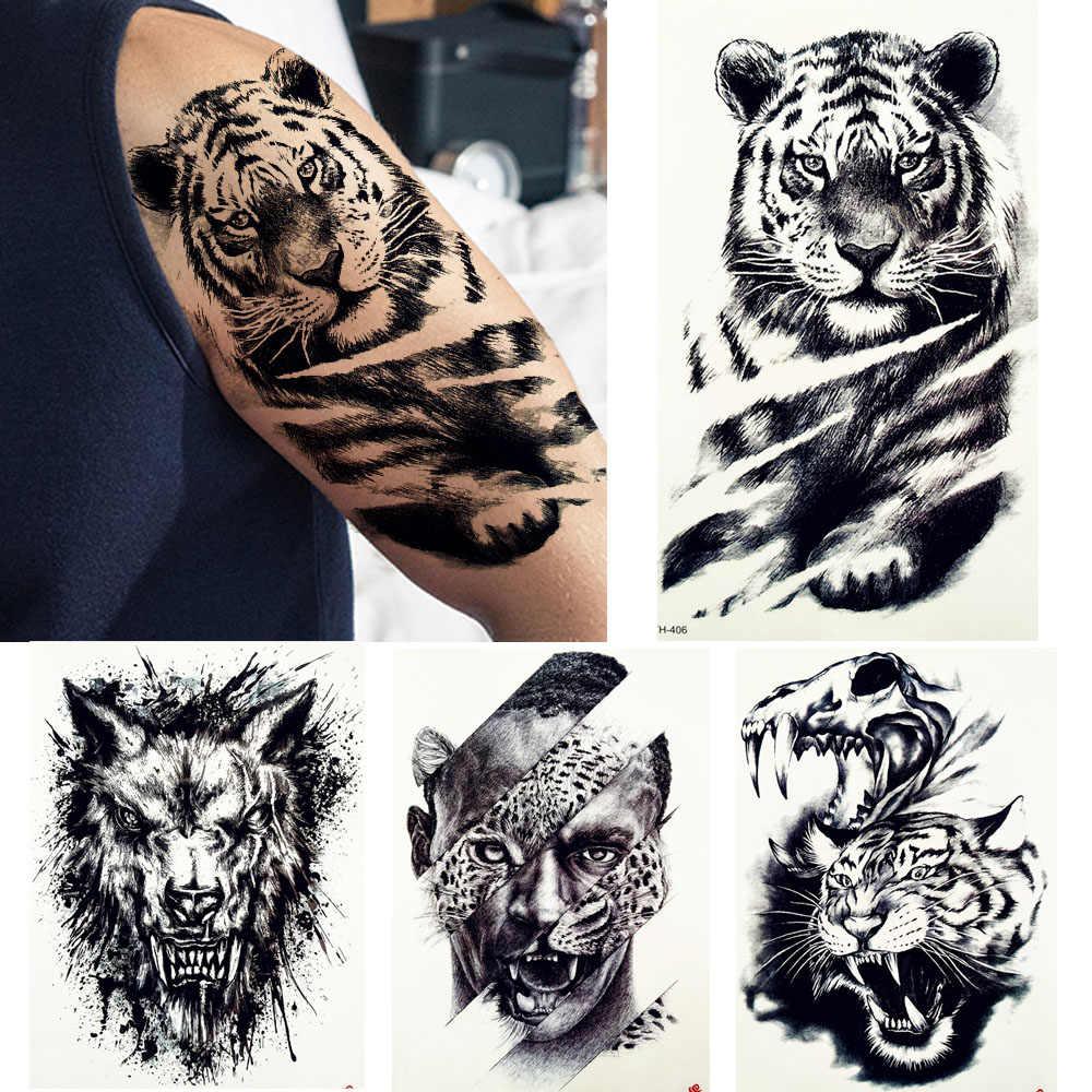 большая черная татуировка тигр поддельные мужские волки леопардовые