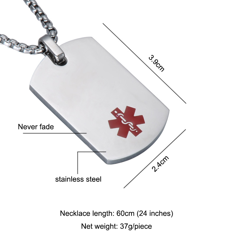 3d8f215b47b48 Free Engraving Medical Alert ID Identification Necklace Stainless Steel  Alert Paramedic Badge Cross Pendants & Necklaces Jewelry