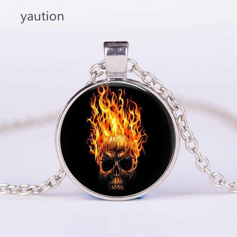 3/цвет Ghost Rider стеклянный индивидуальный кулон, ожерелье череп с пламенем Pendnat винтажные фото арт колье ювелирные изделия оптом