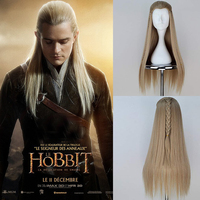 The Hobbit Legolas Greenleaf Gold Long Braided wig role play hair The Lord of the Rings elf Orlando Bloom Cosplay Wig + Wig Cap