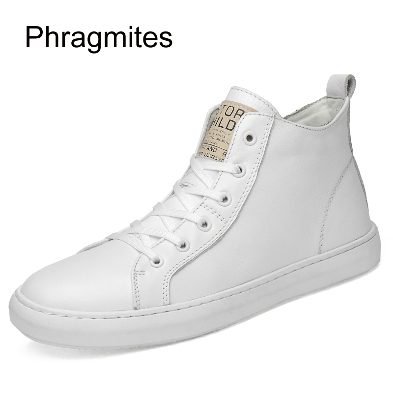 Phragmites White High Upper Cow Leather Shoes Korean 47 Big Size Men Shoes Fashion Summer Mesh