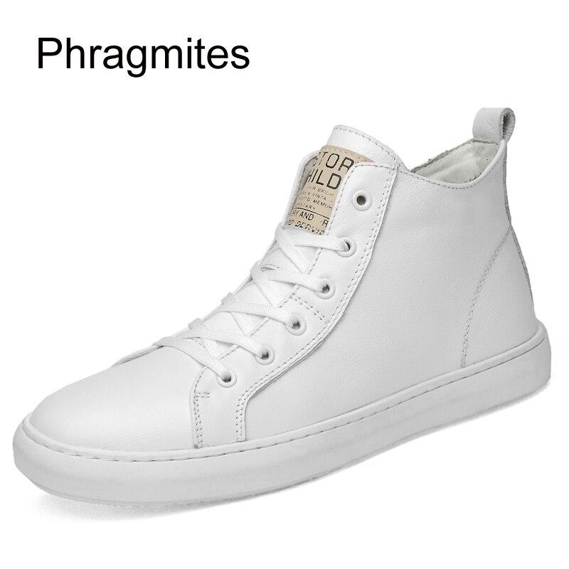 Phragmites biały wysokie górne buty ze skóry bydlęcej koreański 47 duże rozmiary męskie buty moda lato Mesh trampki Zapatos De Hombre w Męskie nieformalne buty od Buty na  Grupa 1