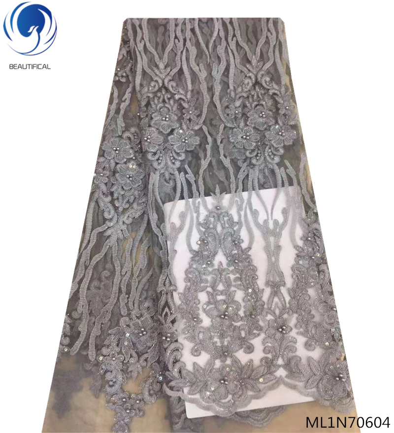 BEAUTIFICAL High class wedding french lace fabrics latest nigerian lace beads fabric grey color on sale ML1N706