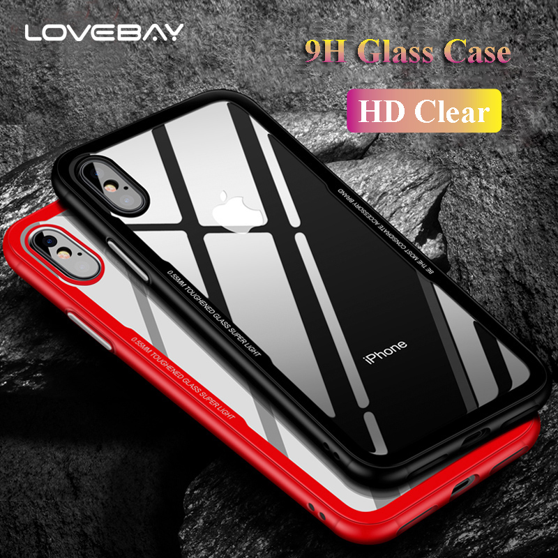 Lovebay Tempered Glass Phone Cases For iPhone X 7 8 6 6S Plus Cases 0.55MM Protective Glass Cover For iPhone X 7 Cover Back Case