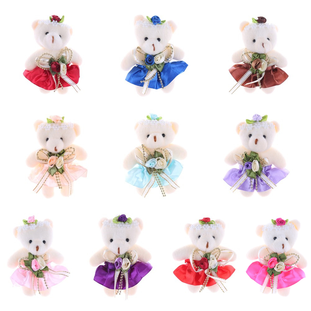 1PC 12CM Kawaii Small Head Teddy Bears Stuffed PlushToy Cartoon Bouquet Teddy-Bear Mini Bears Plush Toys Wedding Gifts