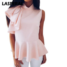 LASPERAL Fashion Solid T Shirt Women 2018 Summer Sleeveless Turtleneck Tops&Tees Casual Female Ruffle Irregular Funny Tee Shirts(China)