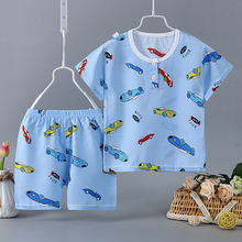 Baby Girls Summer New Printing Outfits Children Kids Milk Silk Clothes Set Top With Cotton Shorts Boutiques Boys