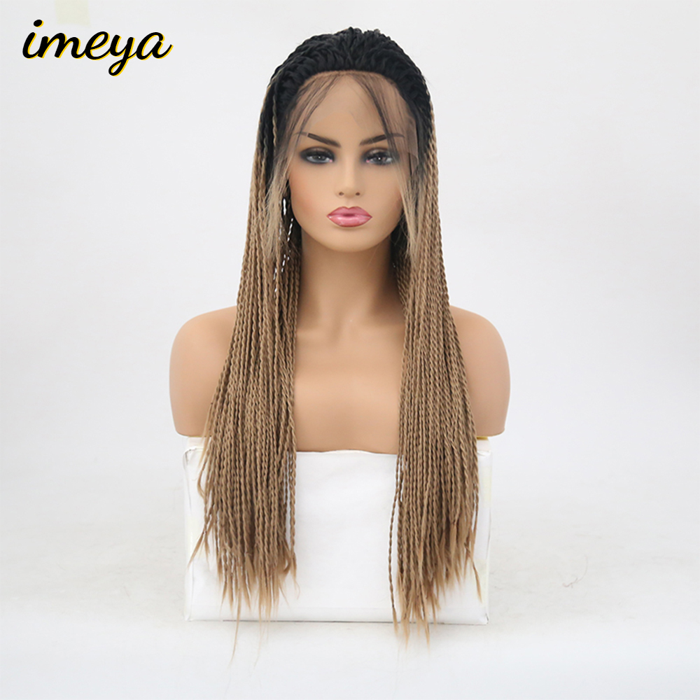 Imeya Long 2x Twist Braids Wigs Lace Front Wigs Synthetic Ombre Blonde Color With Baby Hair