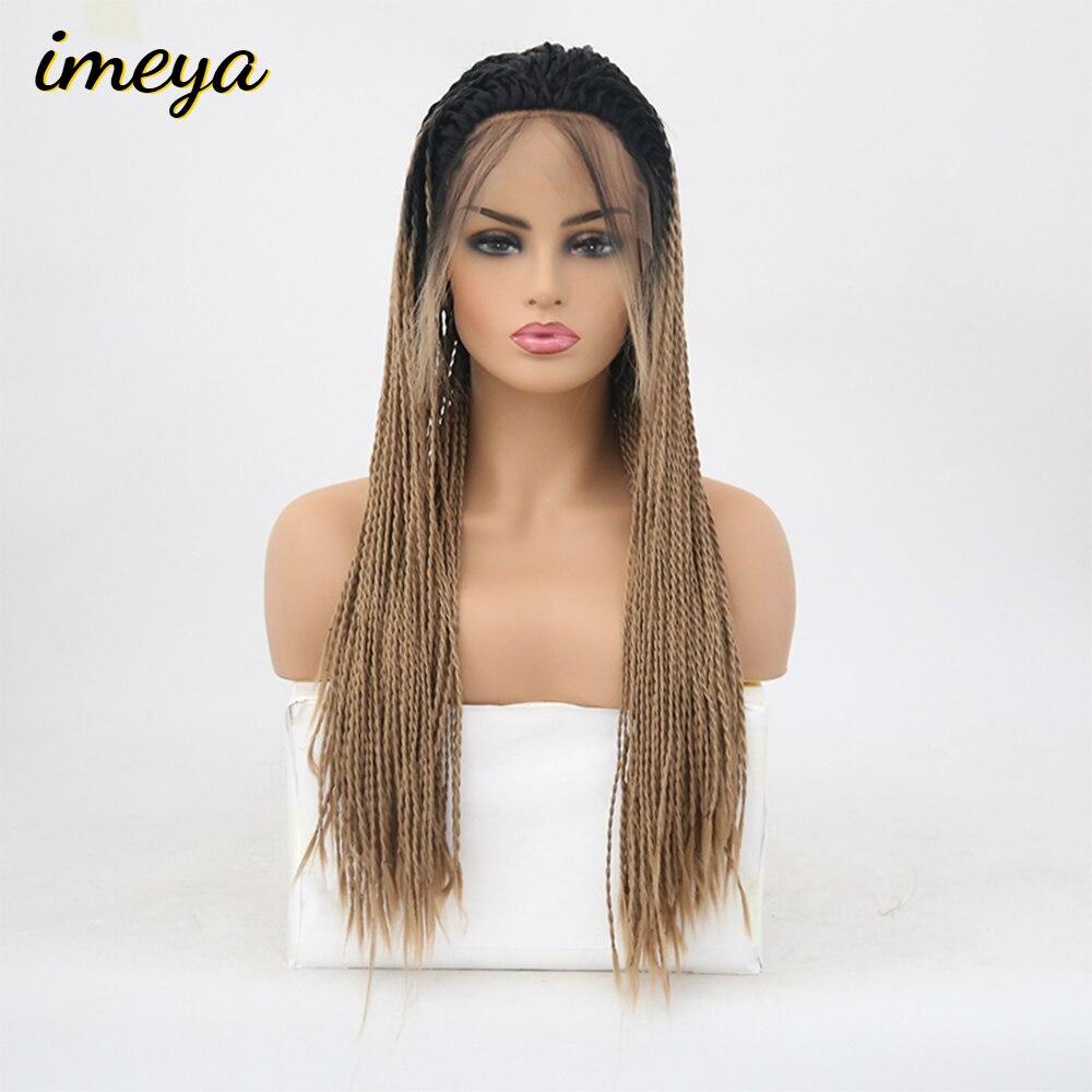 Imeya długi 2x Twist warkocze peruki koronki przodu peruki syntetyczne Ombre blond kolor z dzieckiem włosy włókno termoodporne peruki dla kobiet w Brak Lace Peruki syntetyczne od Przedłużanie włosów i peruki na AliExpress - 11.11_Double 11Singles' Day 1