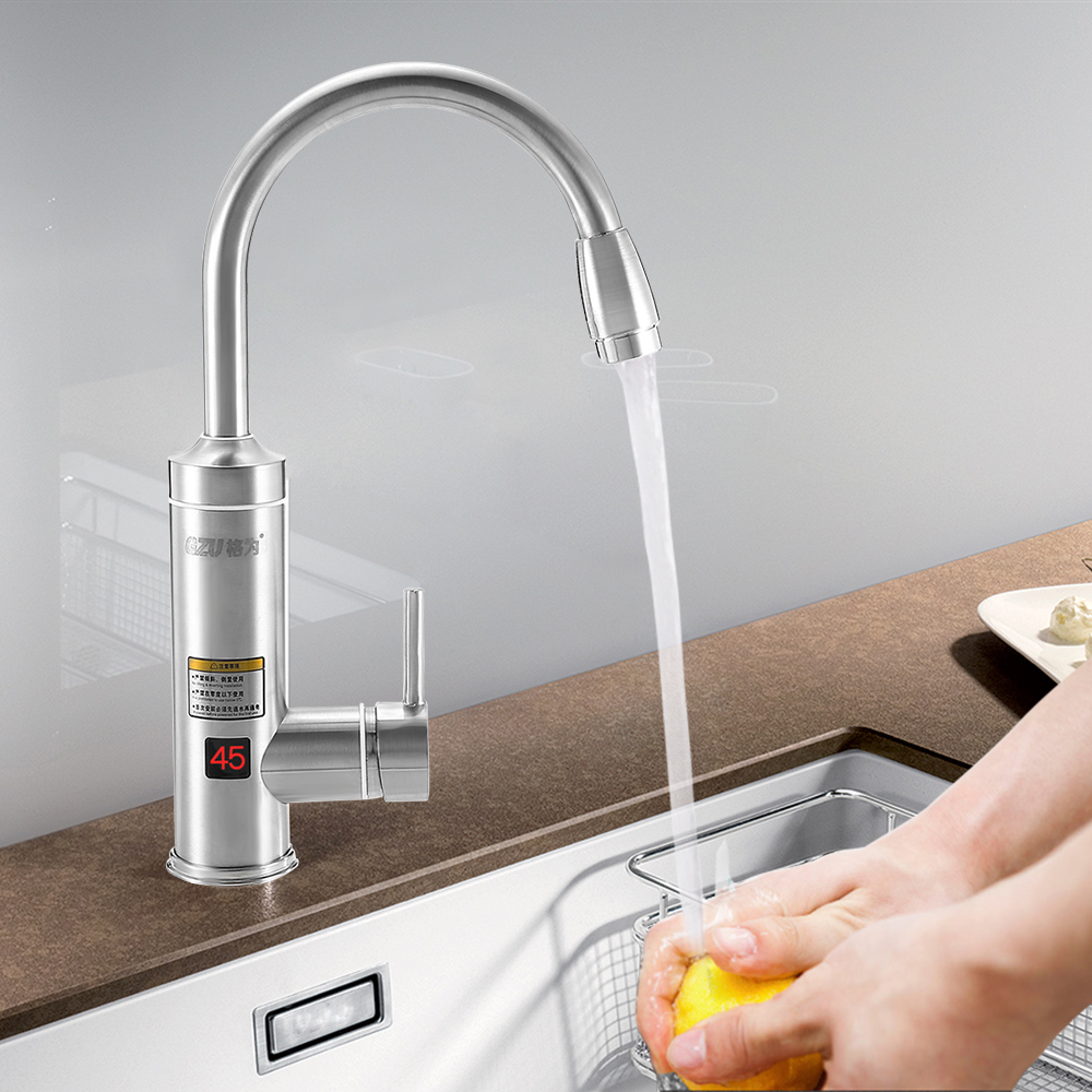 GZU ZM - C2 Electric Instant Stainless Steel Hot Water Heater Faucet Tankless Kitchen Bathroom Heating Tap Digital Display