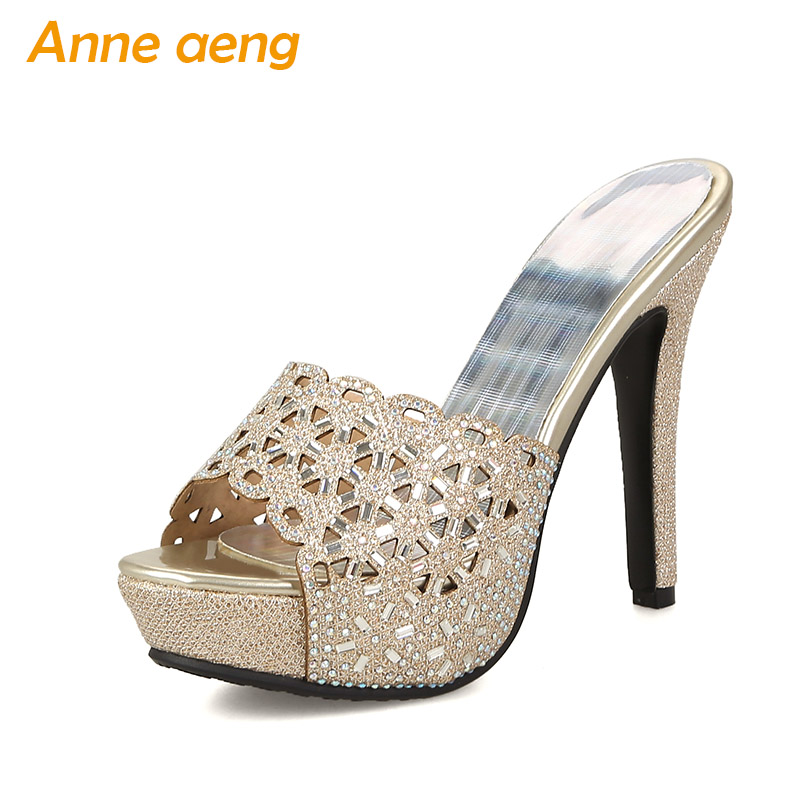 2018 Summer women slippers high thin heel platform slippers mules crystals sexy ladies outside slippers gold silver women shoes