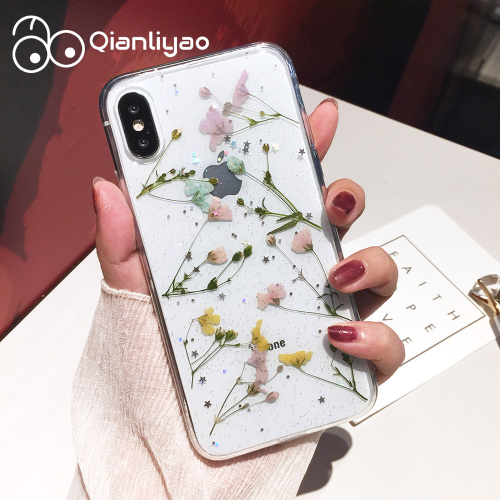 Qianliyao Real Dried Flower Cases For iPhone X XS Max XR 6 6S 7 8 Plus Case Handmade Clear Soft Fresh Flower Phone Back Cover(China)