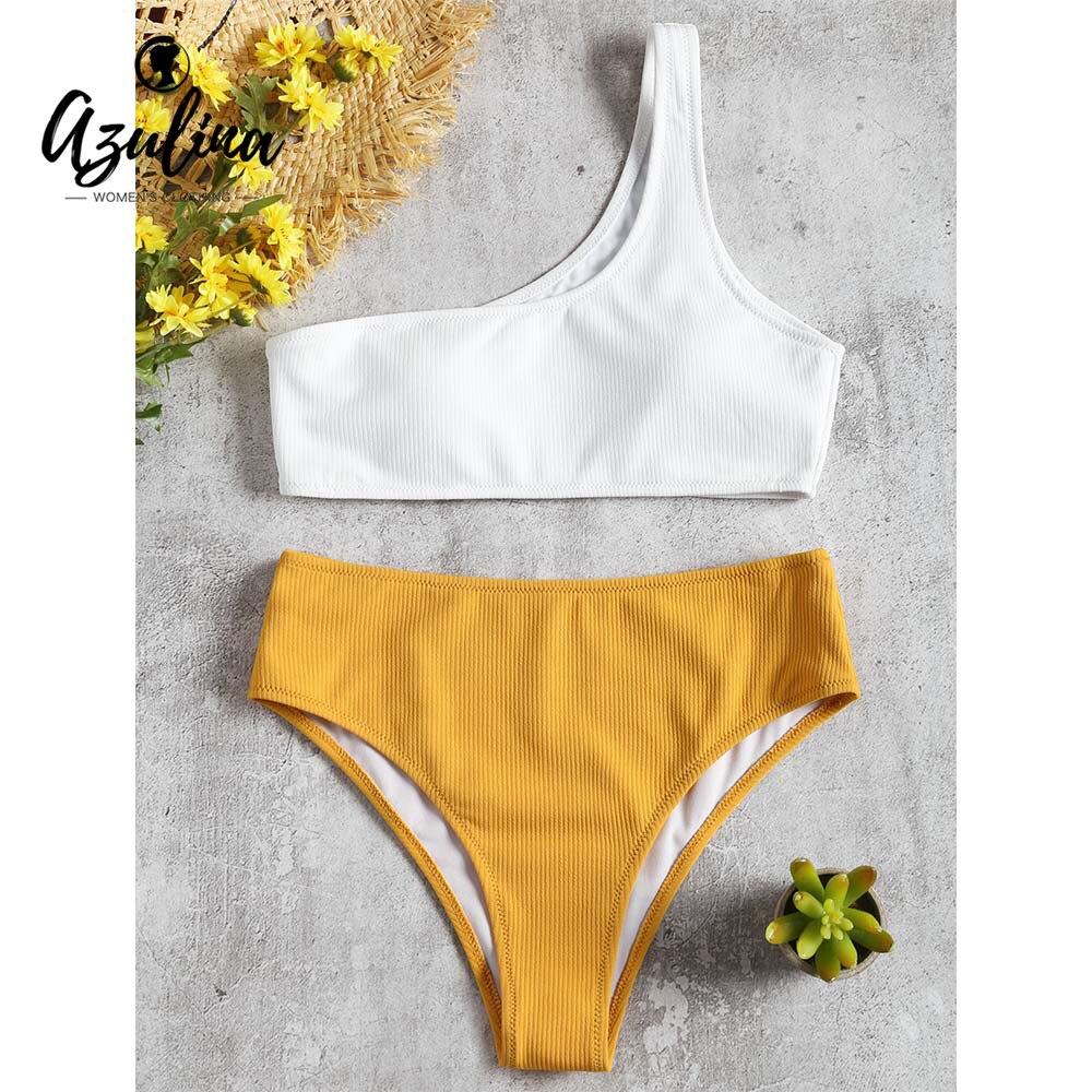 Badpak Voor Ouderen.Goede Koop Azulina Hoge Taille Bikini Een Schouder Gewatteerde