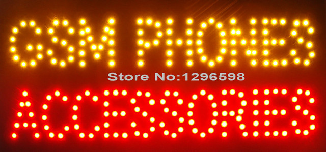 2017 super brightly led gsm phones accessories graphics 10X19 inch phone business shop sign of Led-