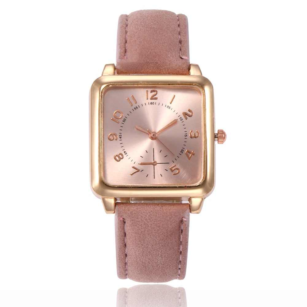 dfe5ce8a4cb5 Ladies Watches Fashion Rose Gold Square Head Leather Women s Wristwatch  Classic Digital Quartz Watch Casual Clock