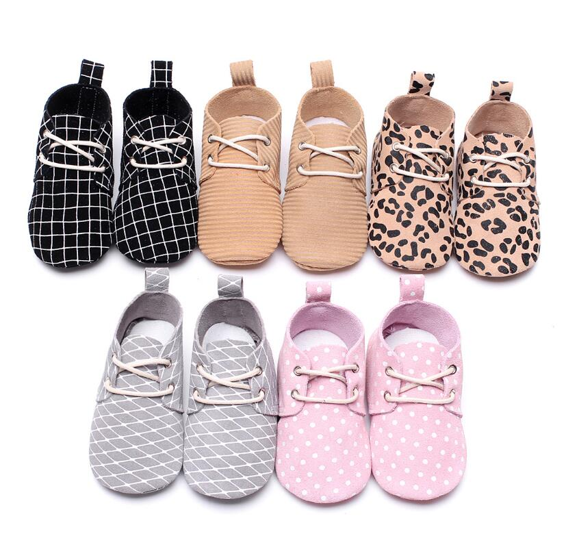 New Leopard Genuine Leather Lace-Up Newborn Baby Boy Girls Prewalkers Sports Sneakers Crib Babe Children Soft Soled Shoes