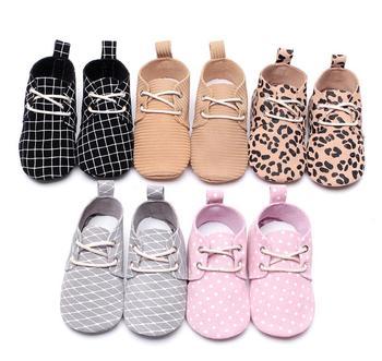 Novo leopardo de couro genuíno rendas-up bebê recém-nascido meninas do menino prewalkers tênis esportivos berço bebê crianças sapatos solados macios