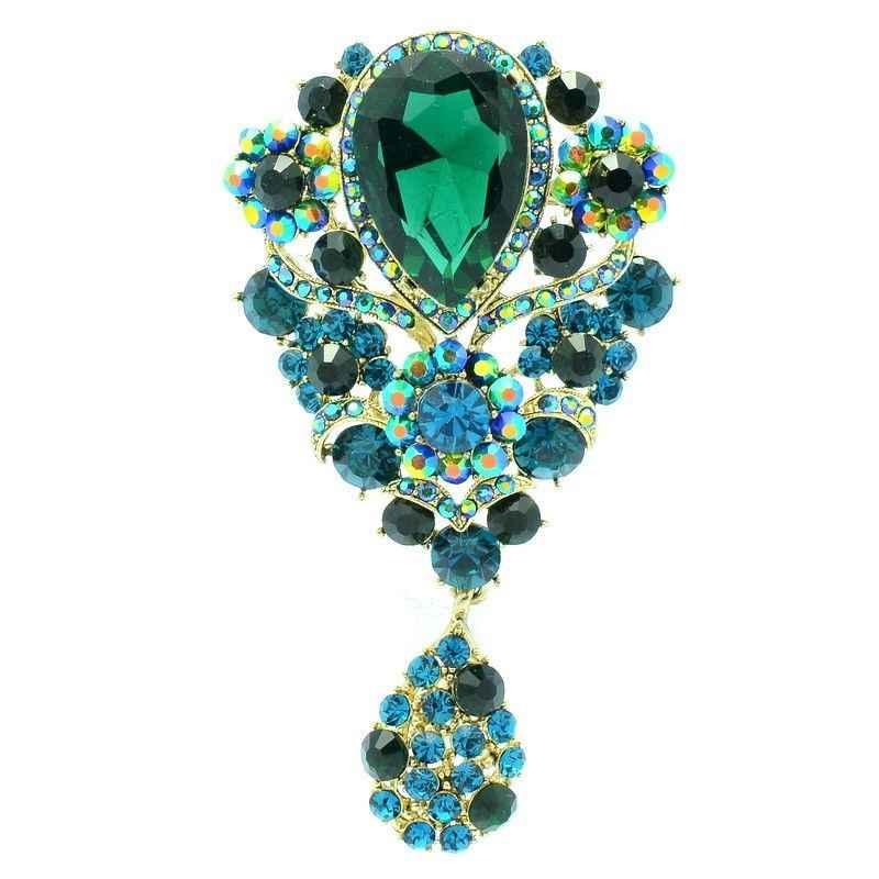Moda Verde Strass Goccia Spilla Bouquet di Fiori Spille Pins Pendente di Cristallo Austriaco Per I Monili Delle Donne 6024