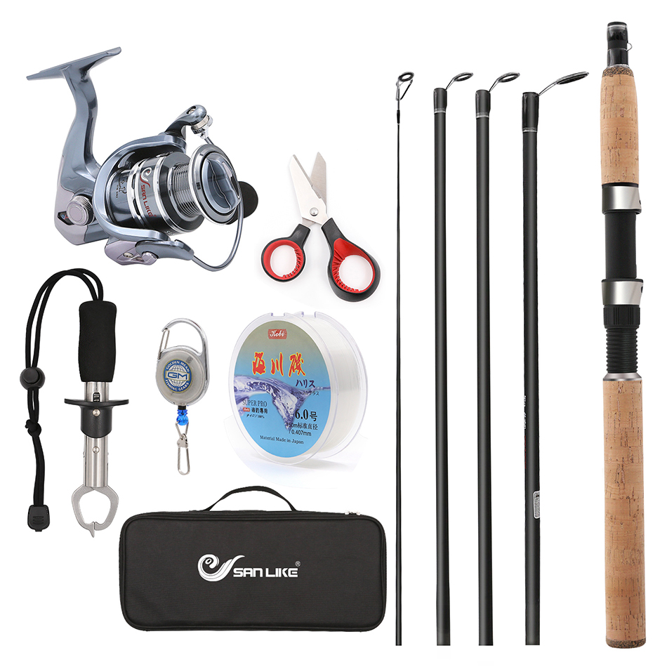 Travel Suit Telescopic Fishing Rod and Reel Combos FULL Kit, Spinning Fishing Gear Organizer Pole Sets with Line Lures Hooks цена