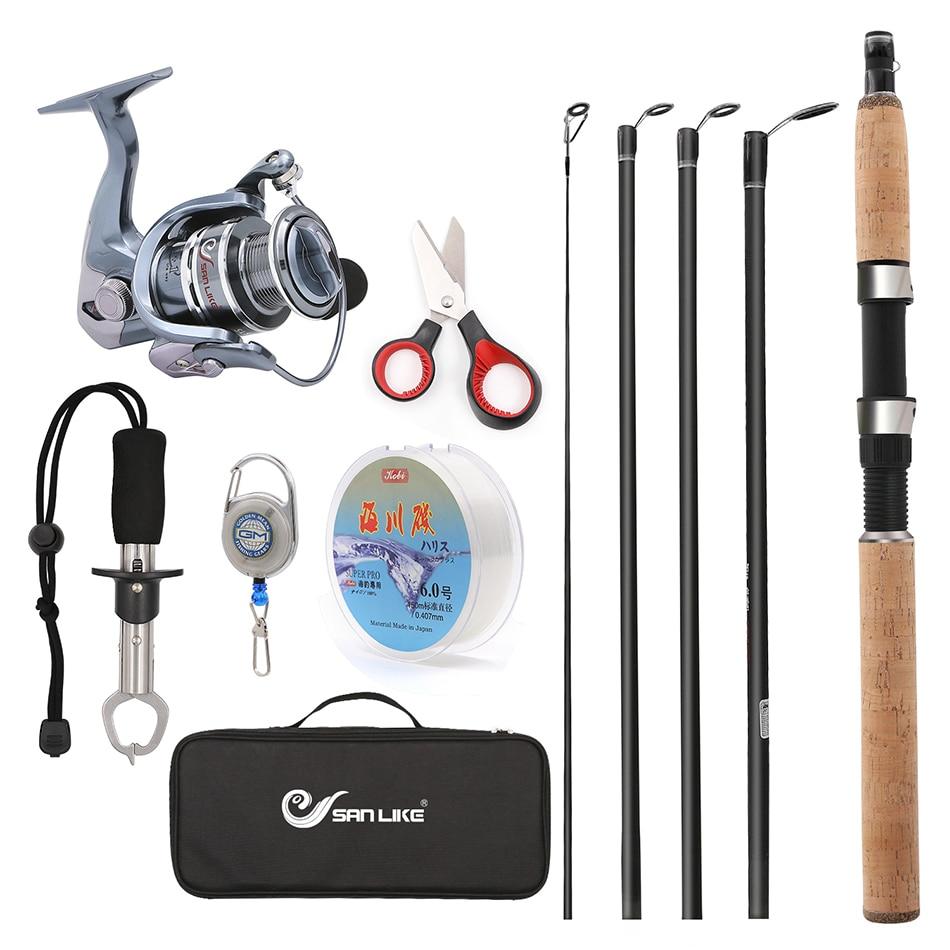 Combinaison de voyage télescopique canne à pêche et bobine Combos Kit complet, rotation engins de pêche organisateur pôle ensembles avec ligne leurres crochets