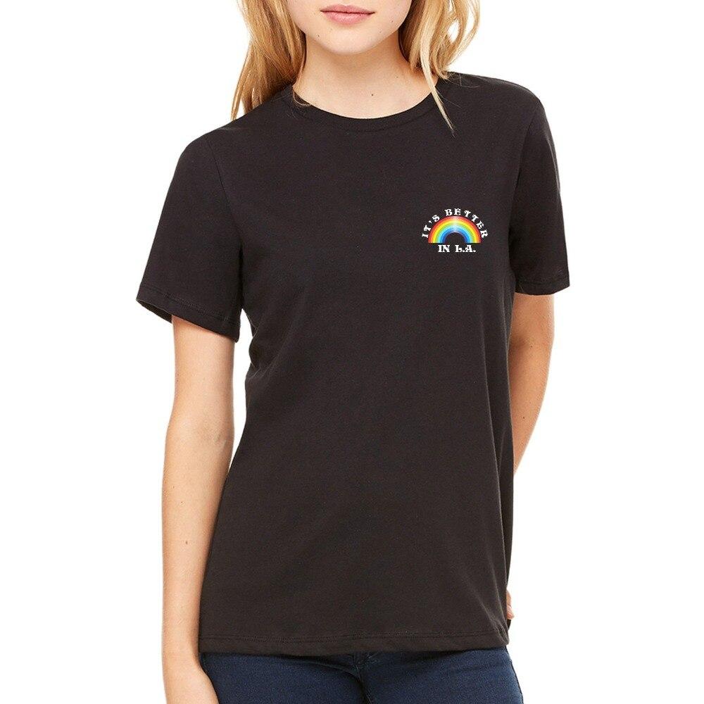 2018 Fashion Women T-shirt cute & Stone Its Better In L A Rainbow Womens T-Shirt Faded Black Tee Summer Tee Shirt