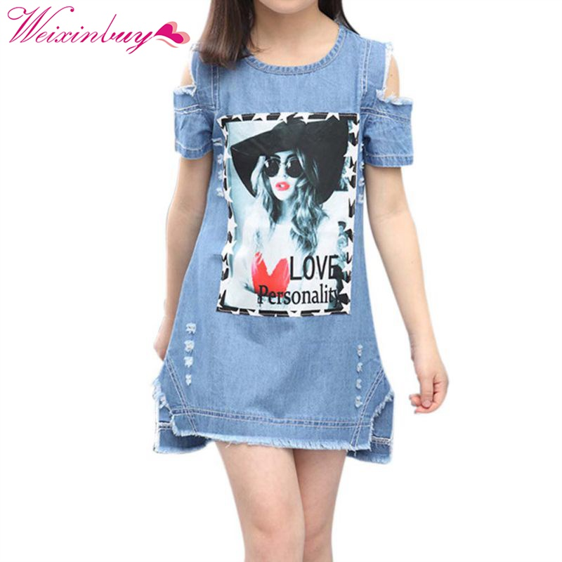Clothing For Girls 5 to 9 Years Girls Denim Dress Toddler Girls Party Dress Teenager Girls Summer Dresses