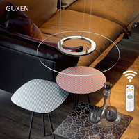 Circular acrylic chandelier Adjust brightness and color temperature chandeliers with remote for dining room GUXEN