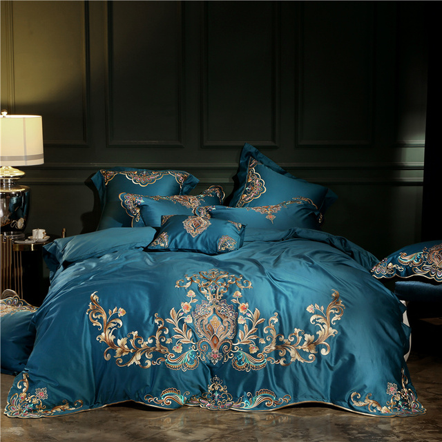 Elegant embroidery Bedding Set egyptian cotton Bed Linen Duvet Cover Pillowcases Bed Sheet Sets Home Textile Queen Coverlets