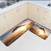 2 Piece Kitchen Mats and Rugs Set Ocean Jumping Dolphin Sunshine Home Deocr Non Skid Area Runner Doormats Carpet