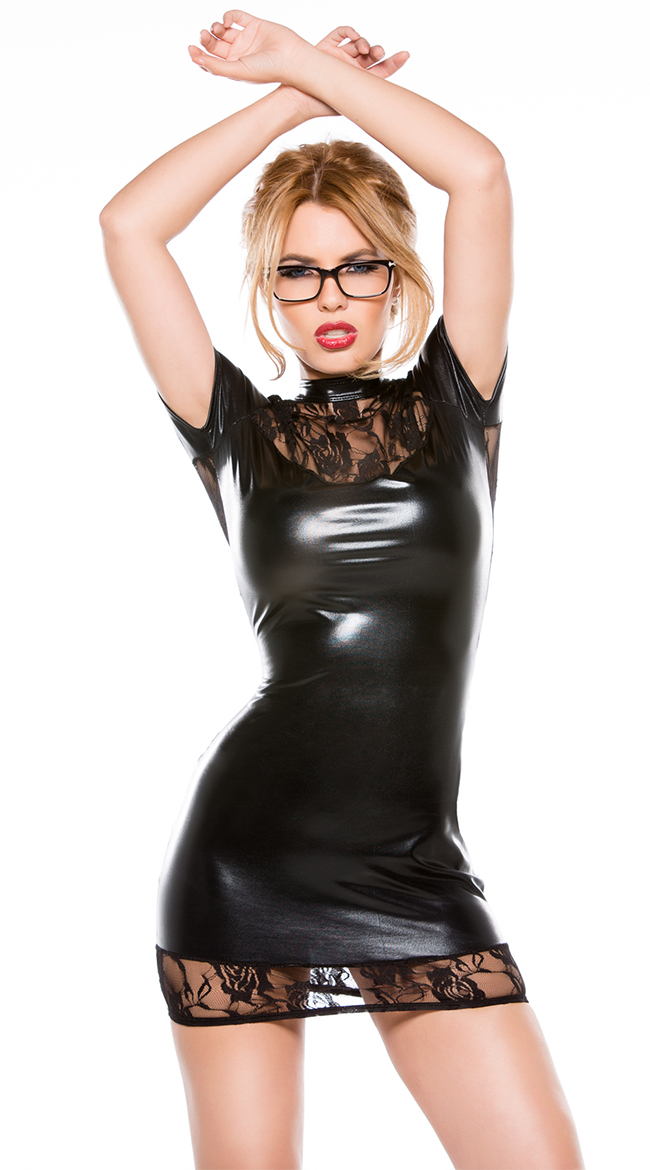 CFYH 2017New Sexy Lace Imitation Leather Patchwork Dress Nightclub Bar Wear Backless Buttock Mini Short Dress Black Sexy
