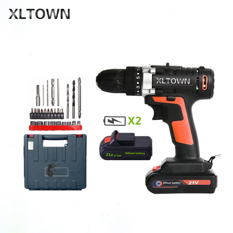 XLTOWN 21v multi-function cordless electric screwdriver with 2 battery high-power rechargeable lithium battery electric drill xltown 12 16 8 21v cordless lithium electric drill with 2 battery multi function rechargeable electric screwdriver power tools