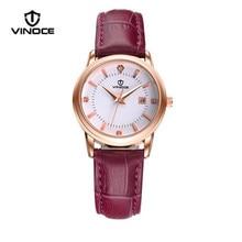 Vinoce diamantes señoras de la manera reloj de la marca de lujo impermeable Relogiob6258 visualización del calendario correa de cuero simple y elegante
