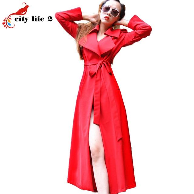 Стройная Длинный Ветровка Моды Пальто Для Женщин Красный Новая Весна И Осень 2016 Европейский Стиль Пыли Пальто с Поясом