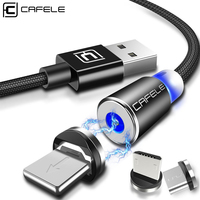 CAFELE Magnetic USB Cable Micro USB Type C Cable for iphone Samsung Huawei Xiaomi Magnet Charger Nylon Wire with LED Light 1M