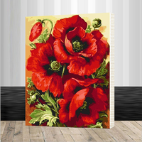 Red Flower DIY Framed Pictures Painting By Numbers DIY Digital Canvas Oil Painting Home Decor For