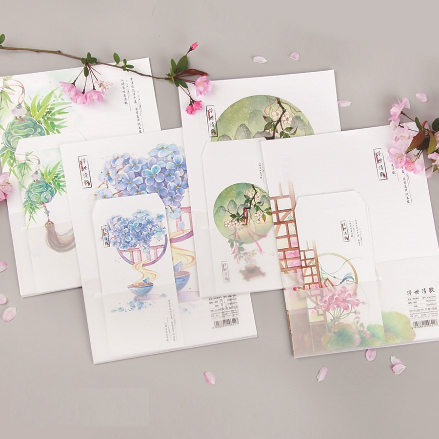 9Pcs/Set 3 Envelopes & 6 Sheets Letter Paper Chinese Classical Style Flower Series Envelope For Gift Stationery