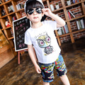 2-8Year Boys Clothes Summer Children Clothing Toddler Boys Printing owl Cotton T-Shirts + Shorts Set Baby Boys Kids Clothes